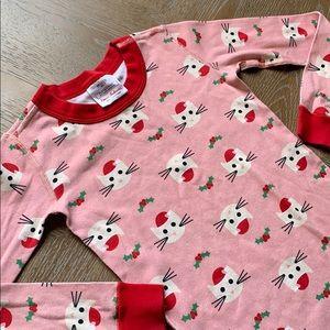 HANNA ANDERSSON Pink Christmas Cat Pajama Top 6-7